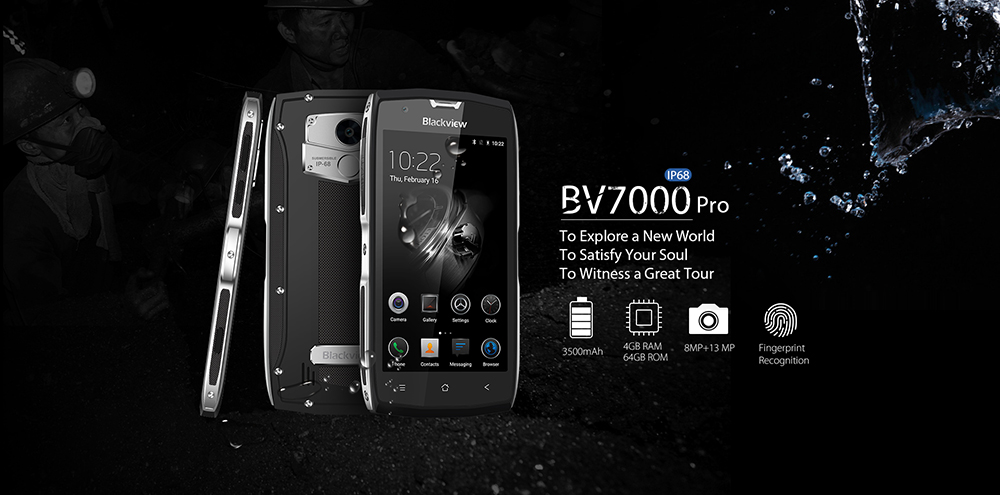Blackview BV7000 Pro 4G Smartphone 5.0 inch Android 6.0 MTK6750 1.5GHz Octa Core 4GB RAM 64GB ROM IP68 Waterproof 8.0MP + 13.0MP Cameras Fingerprint Scanner