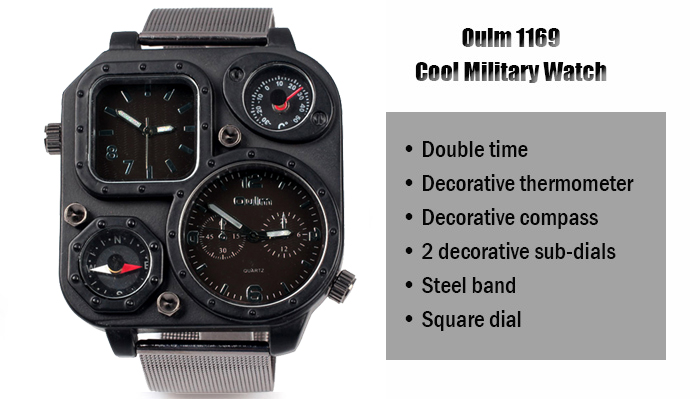 Oulm 1169 Quartz Watch with Double Movt Steel Watchband for Men