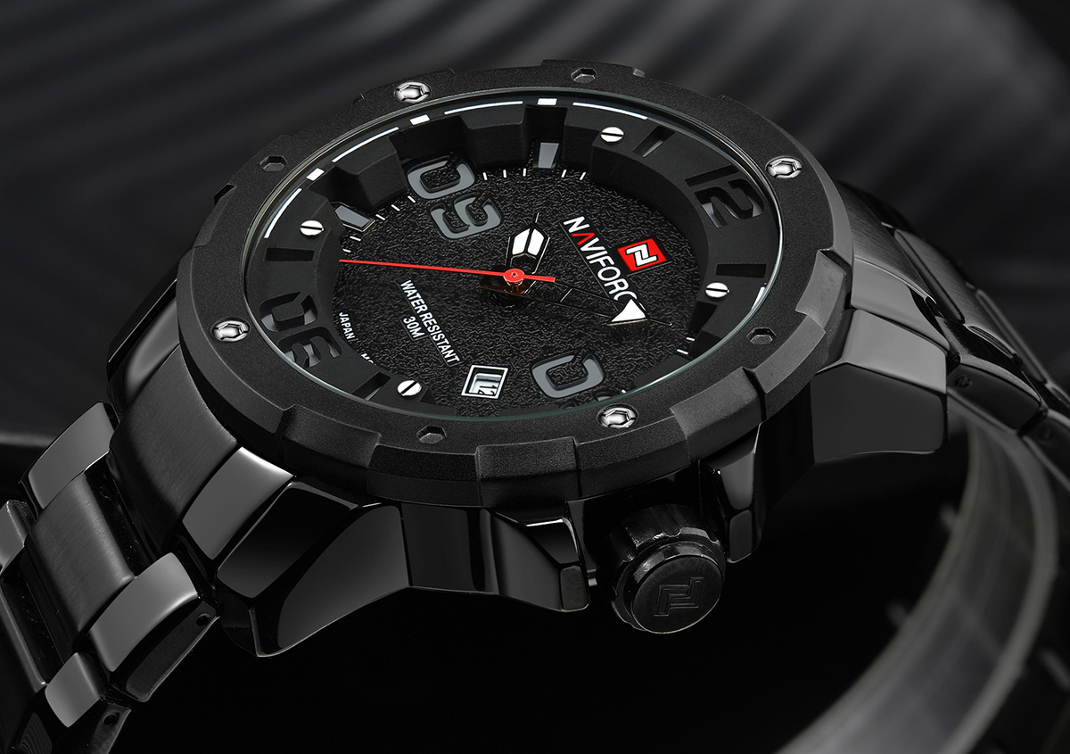 NAVIFORCE NF9078 Hollow-out Scale Date Function Business Quartz Watch for Men