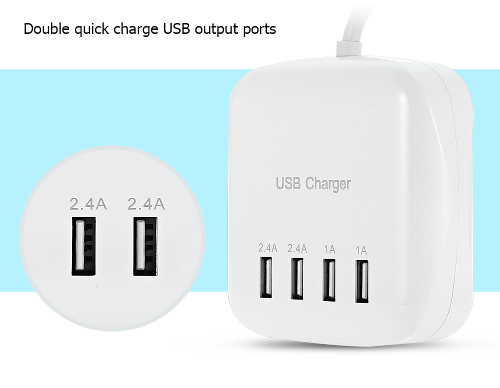 USB Power Adapter Wall Charger Dock Station Four Output Ports Fast Charging