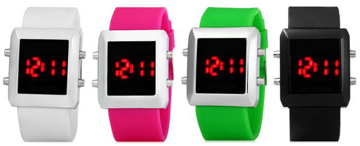 Date Display LED Wristwatch Red Subtitle Rubber Band Watch