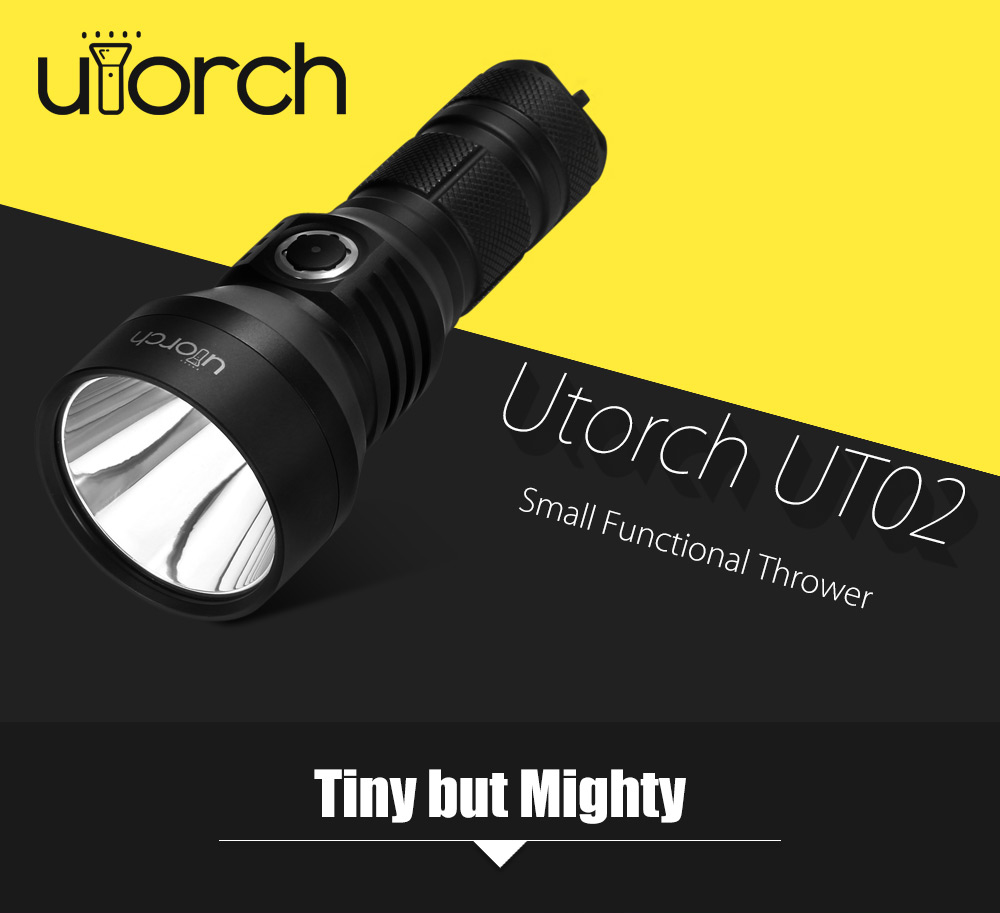 Utorch UT02 Cree XHP35 HI 1300Lm 18650 26650 Rechargeable LED Flashlight