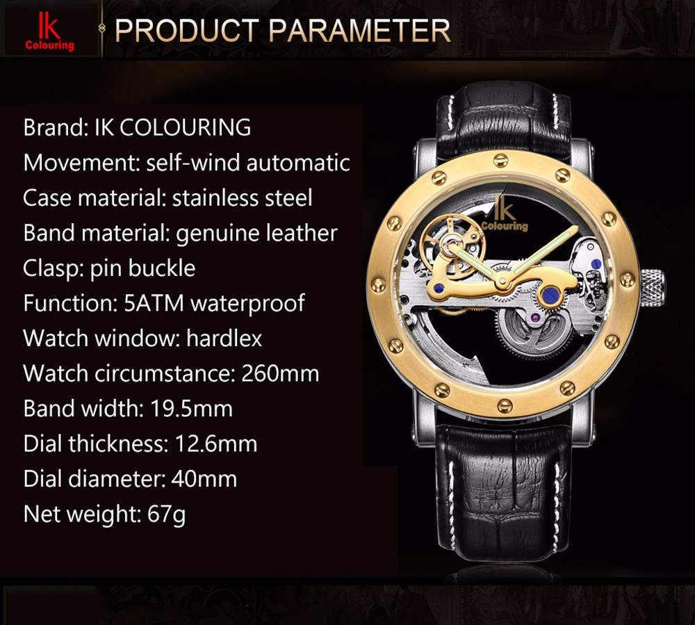 IK Business Style Automatic Mechanical Male Watch with Hollow-out Dial