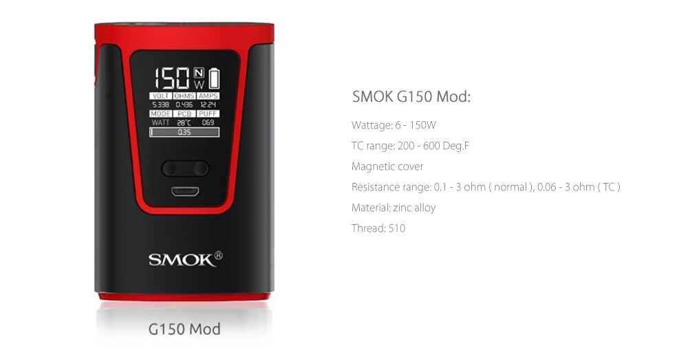 Original SMOK G150 TC Box Mod with 6 - 150W / 200 - 600F / 4200mAh Rechargeable Battery for E Cigarette