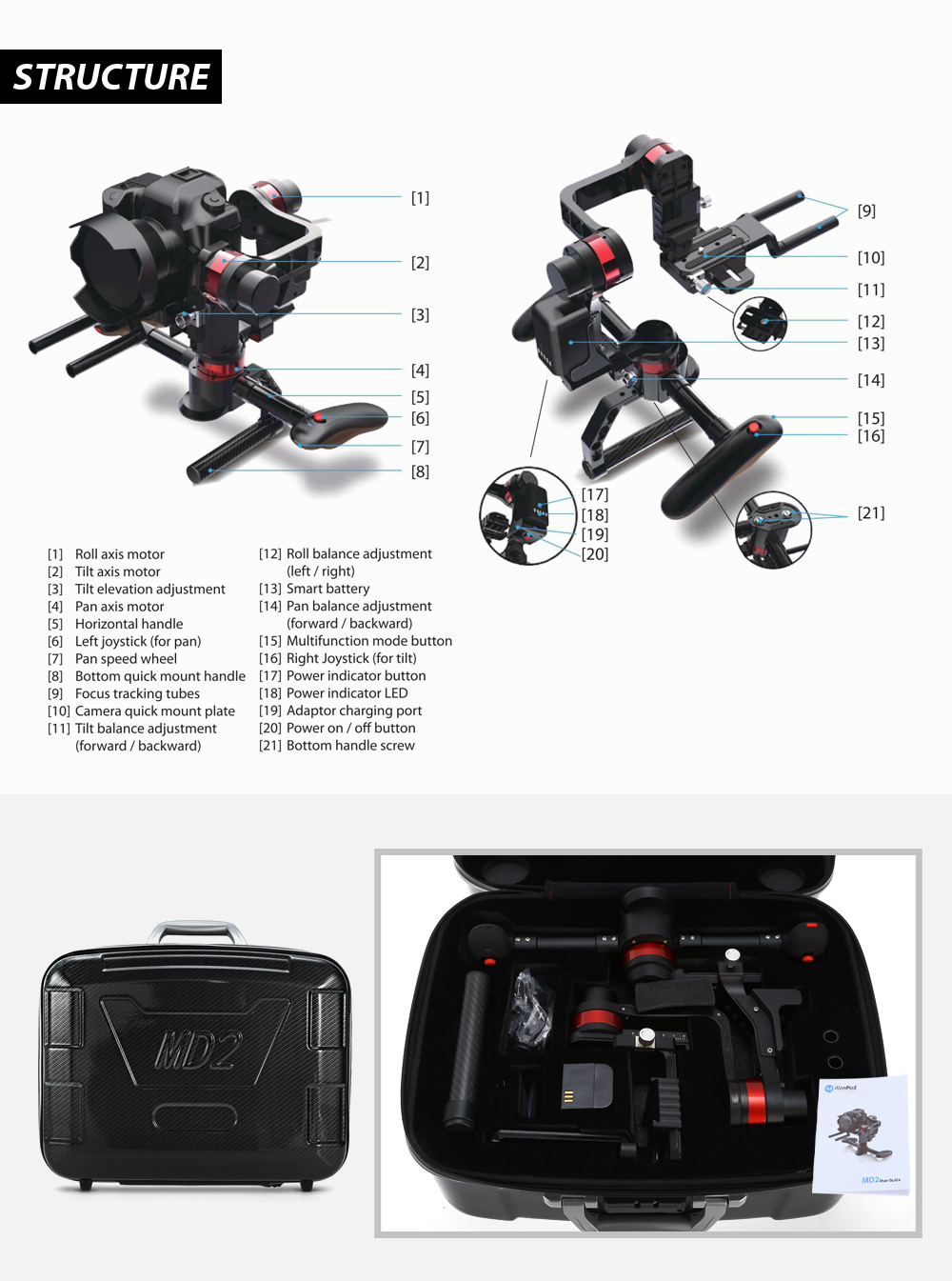 Wenpod MD2 3-axis Handheld Gimbal Stabilizer with Easy Operation