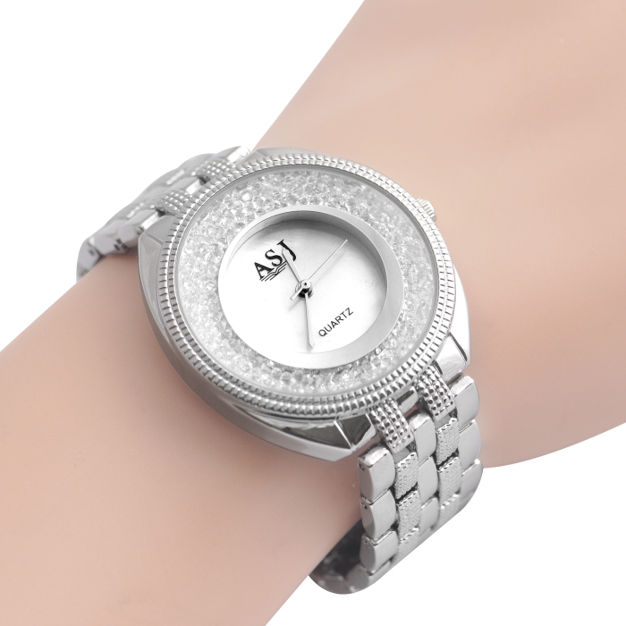 ASJ b060 Floating Diamond Dial Face Women Quartz Watch
