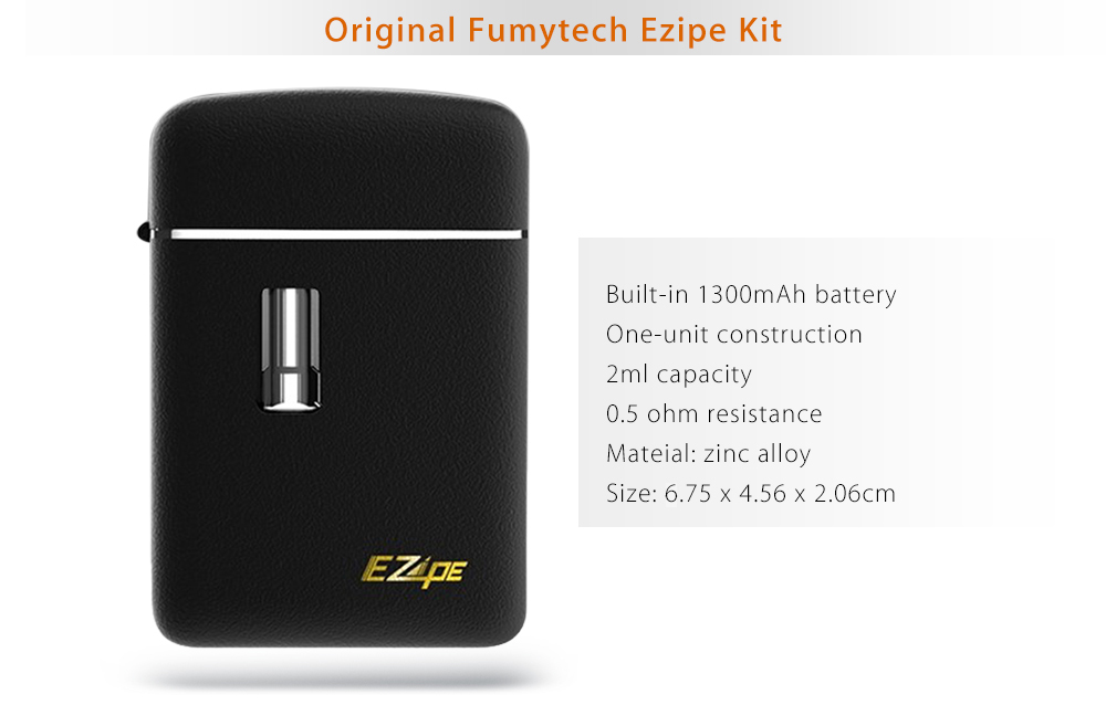 Original Fumytech Ezipe Kit with Built-in 1300mAh Battery / One-unit Construction / 2ml Capacity / 0.5 ohm / 0.9 ohm for E Cigarette