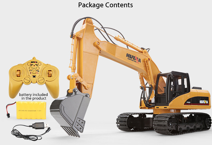 HUINA 1550 1:12 2.4GHz 15CH RC Alloy Excavator RTR with Independent Arms Programming Auto Demonstration Function