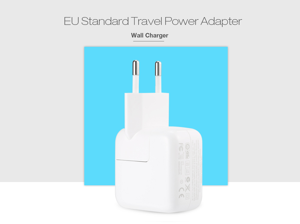 Europe Plug Style Charger Adapter with Universal USB 2.0 Interface for iPad , iPhone , etc - White