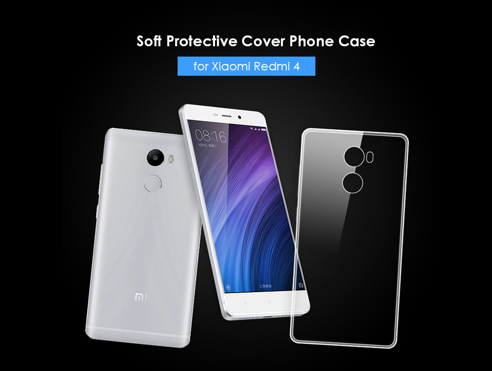 ASLING Transparent TPU Soft Case Protective Cover Phone Protector for Xiaomi Redmi 4 Standard Edition