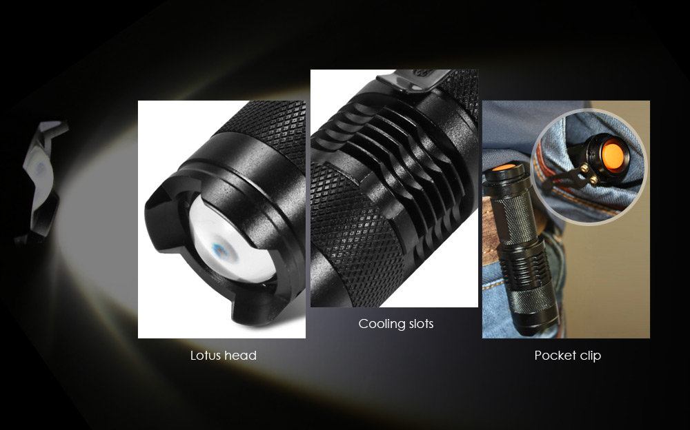 SK68 Cree Q5 350Lm Linterna LED Zoomable
