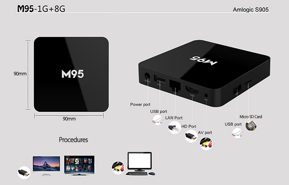M95 Amlogic S905X Quad Core Set-top Box 4K x 2K H.265 2.4G WiFi Android 6.0 1G DDR3 RAM 8G eMMC ROM HD 2.0