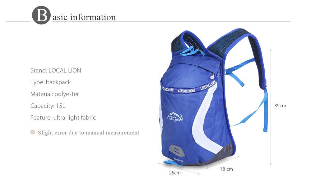 LOCAL LION 526 Ultra-light Mesh Cycling Backpack 15L Mountaineering Bag