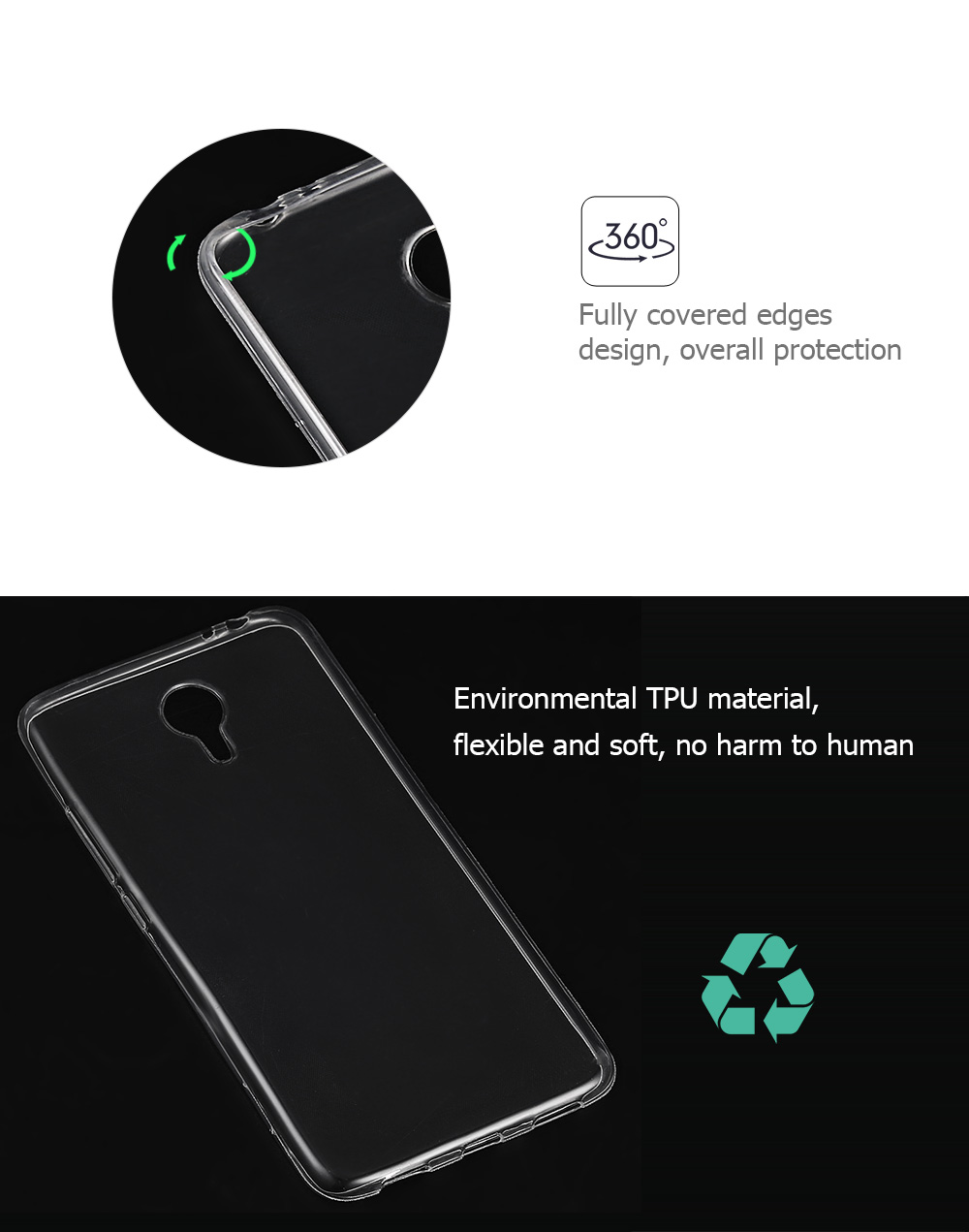 Ultrathin Transparent TPU Back Cover Case for Meizu M3 Note