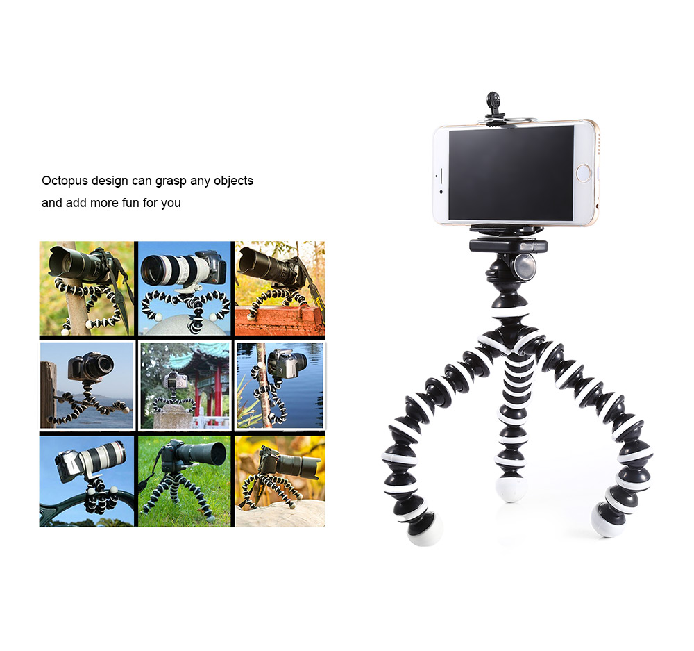 2 in 1 Adjustable Multi-Function Octopus Style Tripod for Mobile Phone with Clip