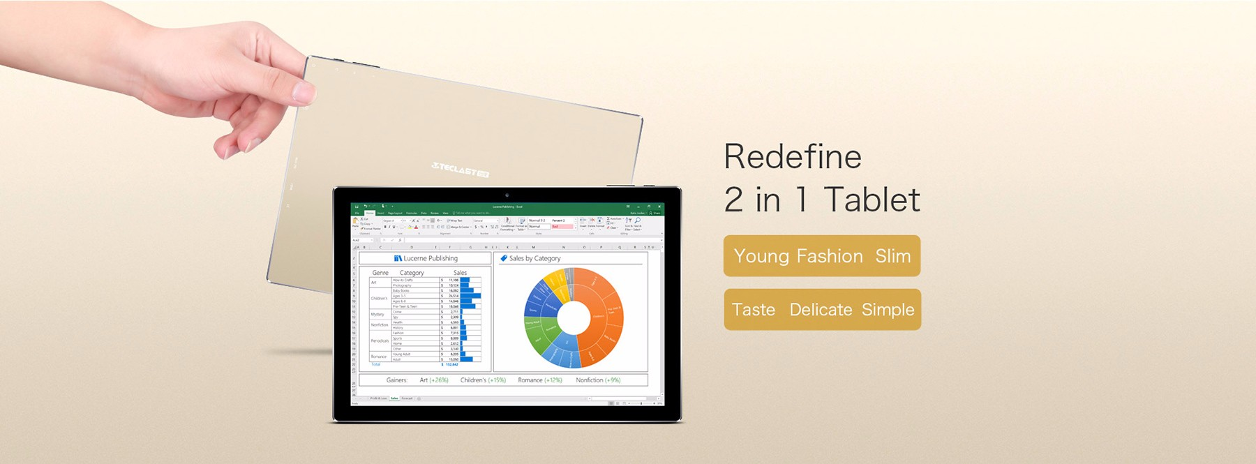 Teclast Tbook 10 S 2 in 1 Tablet PC with Stylus 10.1 inch Windows 10 + Android 5.1 Intel Cherry Trail X5-Z8350 Quad Core 1.44GHz 4GB RAM 64GB ROM HDMI