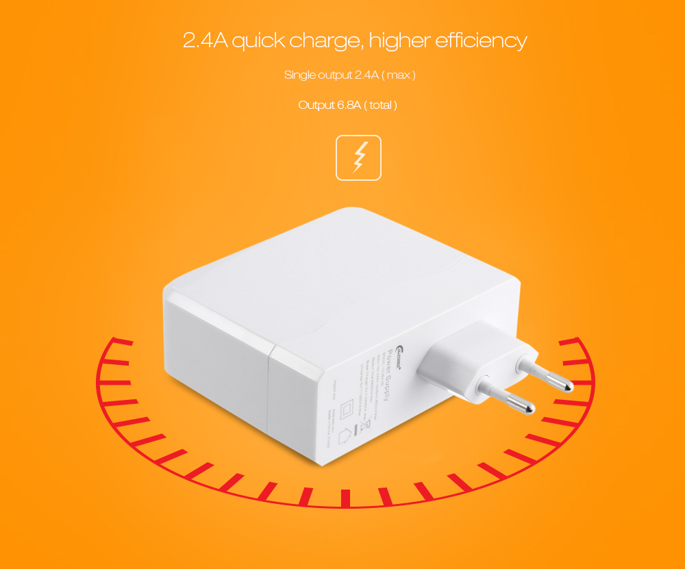 6.8A 5 USB Travel Power Charger Adapter Dock Quick Charge