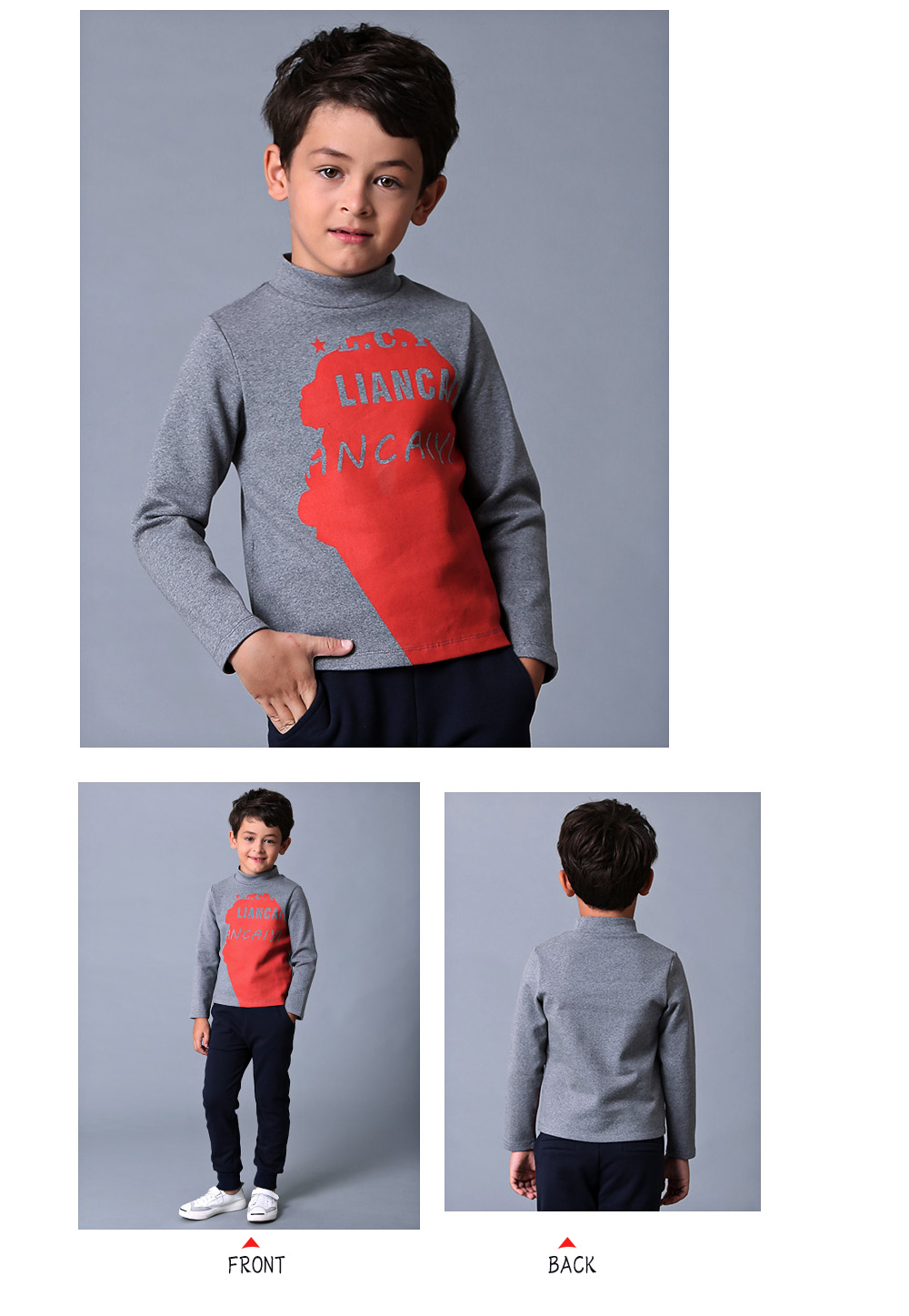 Liancaiyi Turtle Neck Long Sleeve Letter Print Boy T-Shirt