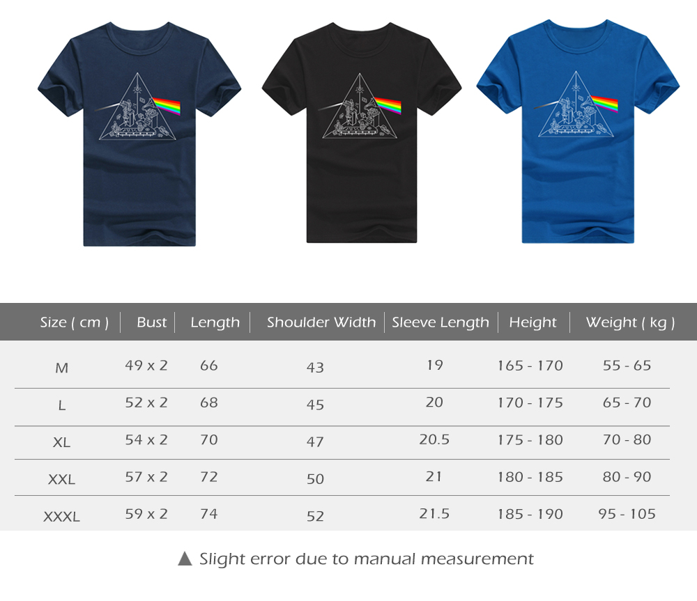 Male Creative Cotton Tops Refracting Rainbow Print Short Sleeves Concert T-shirt