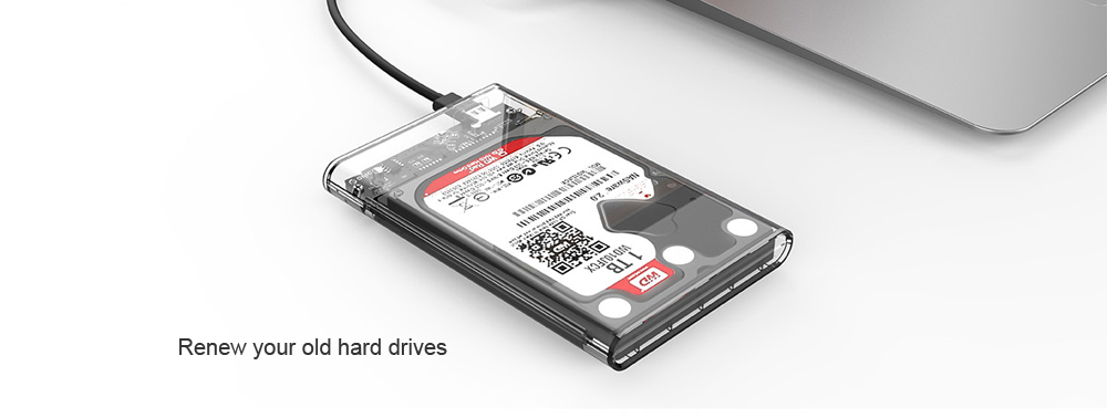 ORICO 2139C3 2.5 inch Transparent Type-C Hard Drive Enclosure for HDD / SSD Connectivity