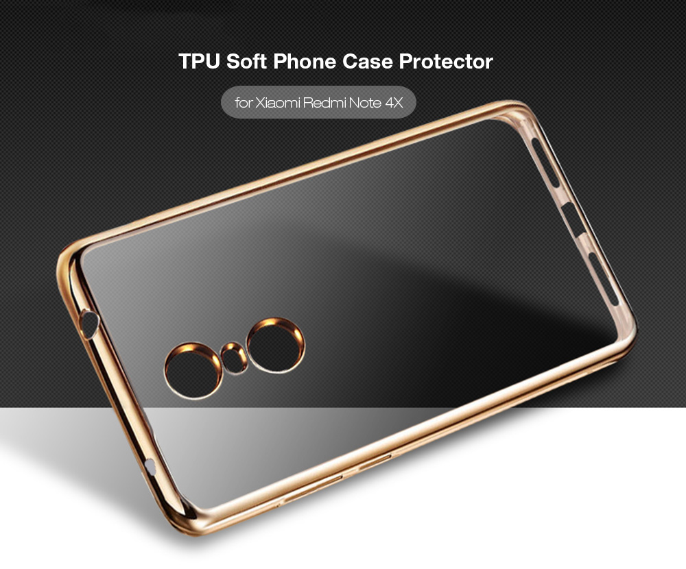 ASLING TPU Soft Protective Phone Case for Xiaomi Redmi Note 4X Electroplated Edge