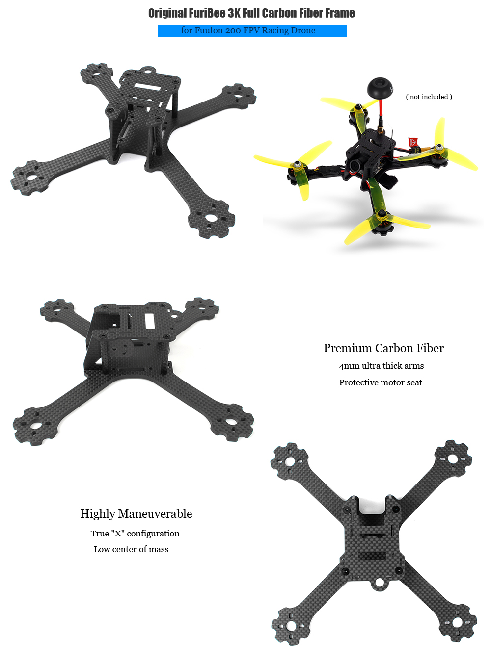 Original FuriBee 3K Full Carbon Fiber Frame with 4mm Thick Arms for Fuuton 200 RC Racing Drone