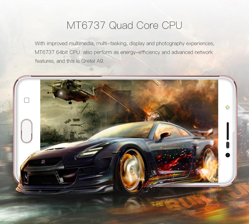 Gretel A9 4G Smartphone 5.0 inch Android 6.0 MTK6737 Quad Core 1.25GHz 2GB RAM 16GB ROM Fingerprint Scanner Full Metal Body