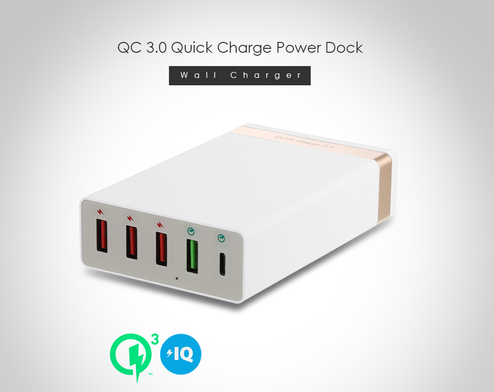 QC 3.0 Quick Charge Type-C Power Adapter Charger Dock 5 USB Ports