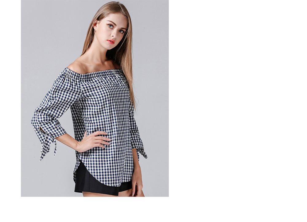 Chic Off the Shoulder Checked Women Tops