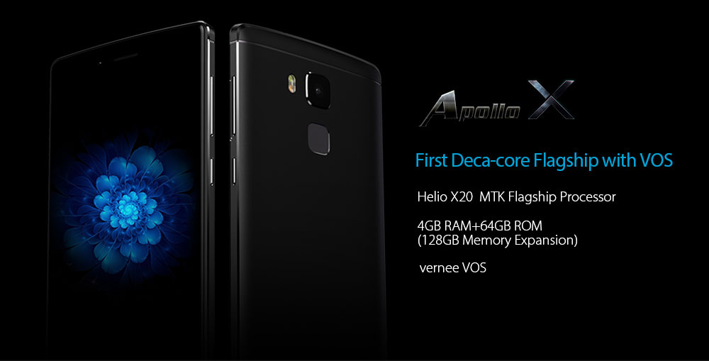 Vernee Apollo X 4G Phablet Android 6.0 5.5 inch Helio X20 Deca Core 2.3GHz 4GB RAM 64GB ROM 13.0MP Rear Camera Type-C Full Metal Body Fingerprint Scanner