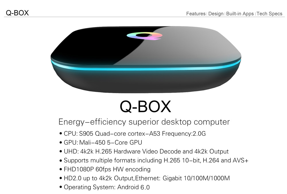 Sunvell Q-BOX TV Box Android 5.1 1000M LAN
