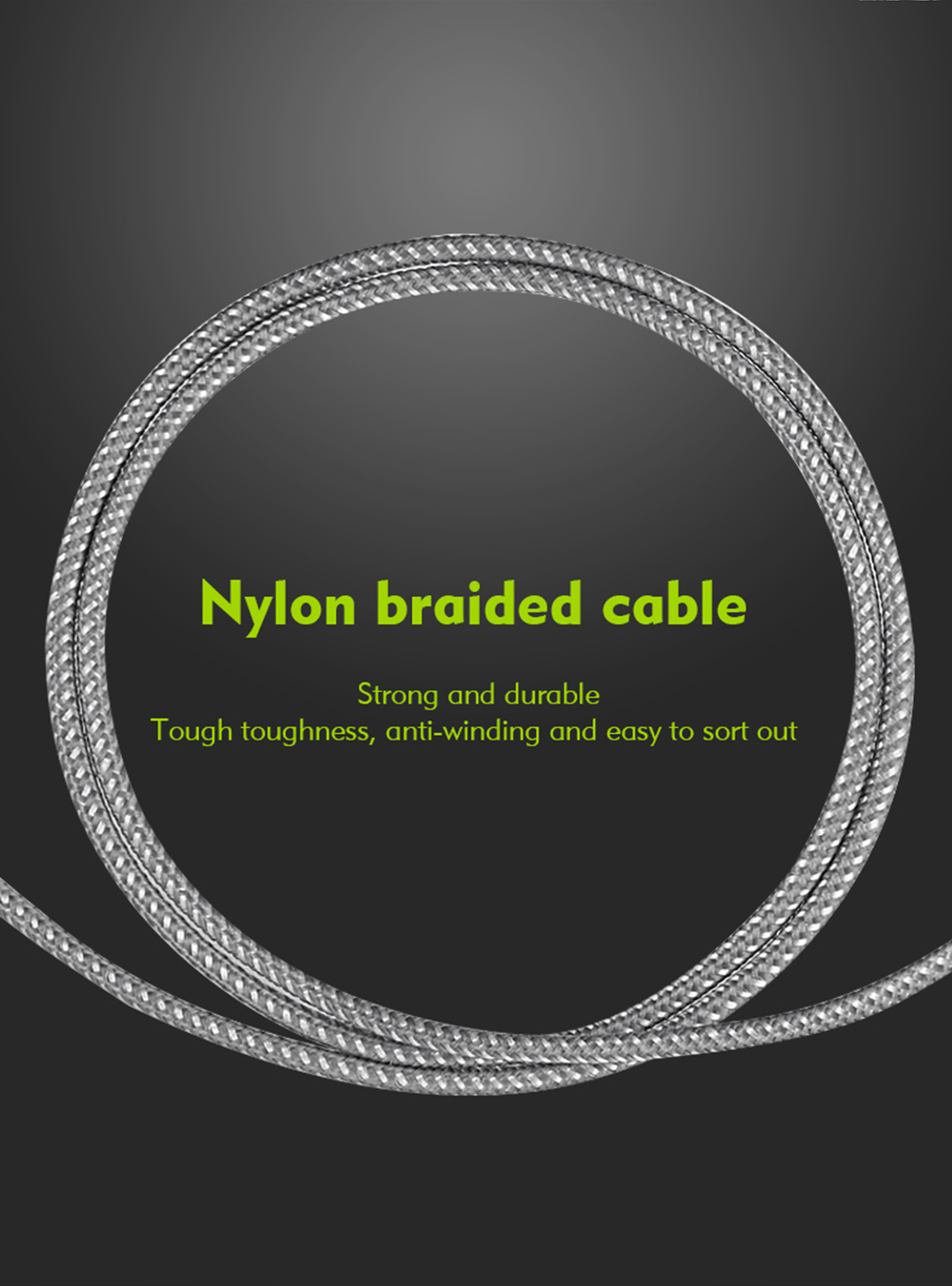 Benks Type-C to Type-C Data Sync Charging Cable Nylon Knit Cord - 1m