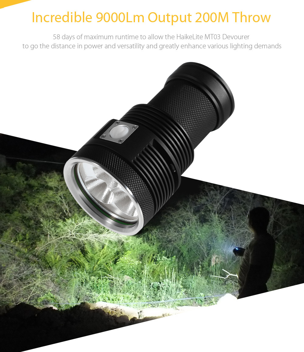 HaikeLite MT03 II Devourer 3 x Cree XHP70 9000Lm LED Searchlight Flashlight