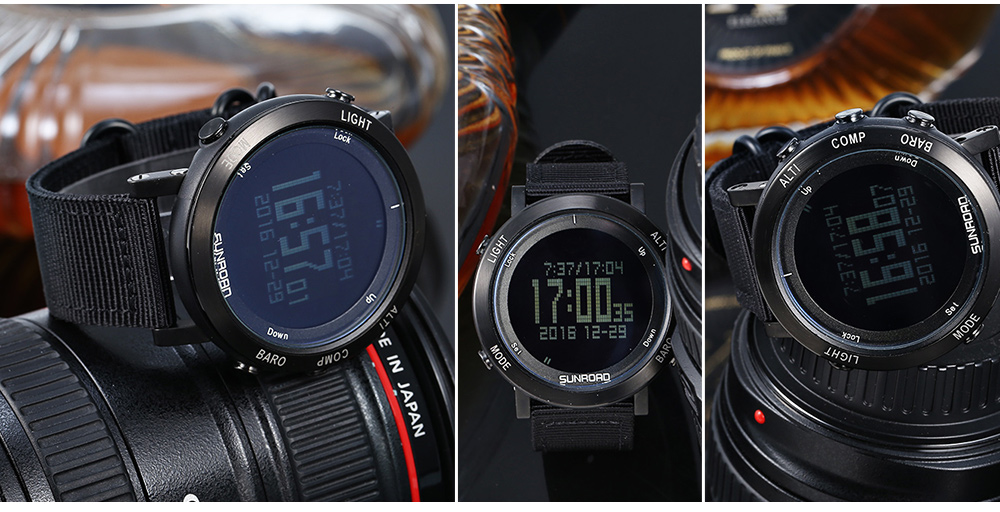SUNROAD FR851 Outdoor Sports Watch EL Backlight Weather Stopwatch Timer Compass Wristwatch