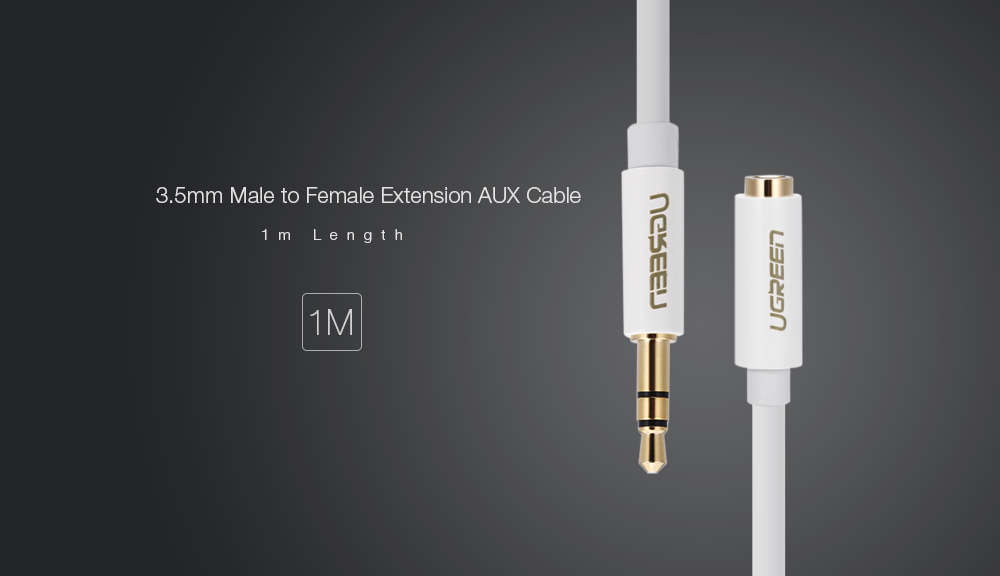 UGREEN AV124 3.5mm Jack Male to Female Audio Extension Cable - 1m