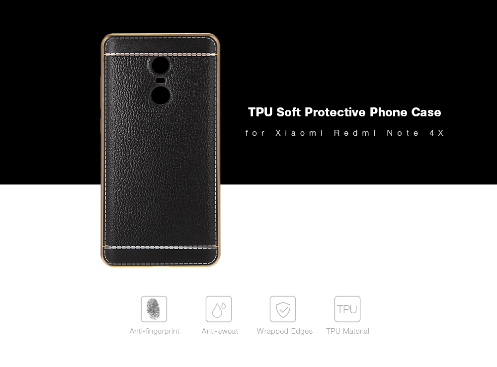 Luanke Electroplating TPU Case Protector for Xiaomi Redmi Note 4X Pretended Leather
