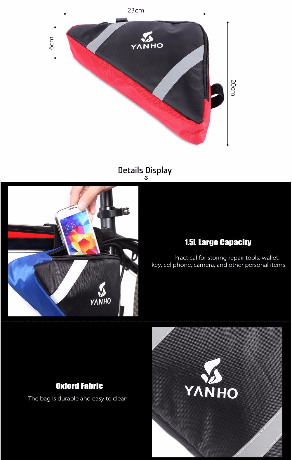 YANHO YA085 1.5L Triangle Bike Front Tube Bag with Reflective Stripes Cycling Accessories