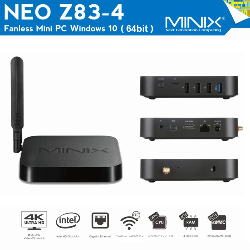 MINIX NEO Z83 - 4 Sin ventilador Mini PC de 64 bit para Windows 10