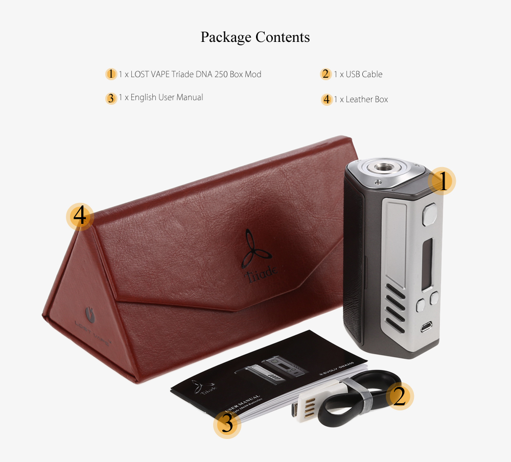 Original LOST VAPE Triade DNA 250 Box Mod with 1 - 250W / 200 - 600F / Supporting 3pcs 18650 Batteries for E Cigarette