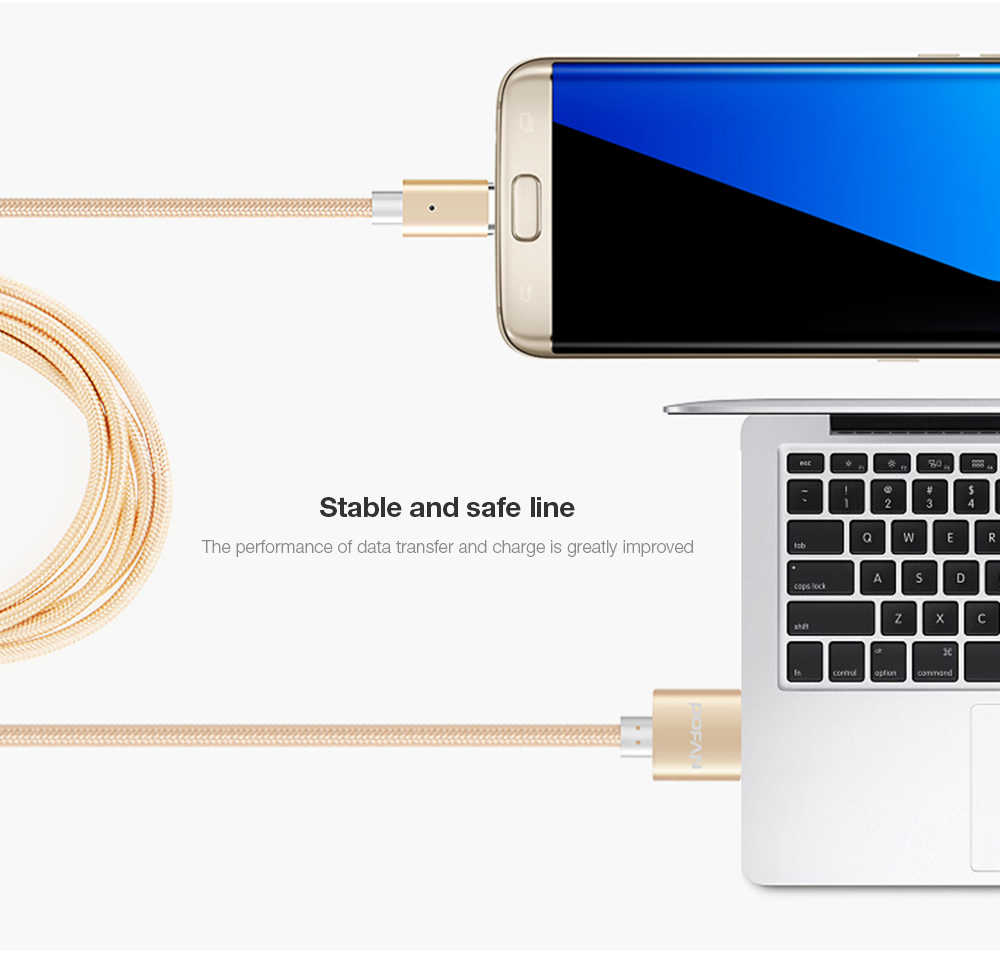 POFAN P13 Magnetic Micro USB Cable LED Prompt Sync Charging Rope