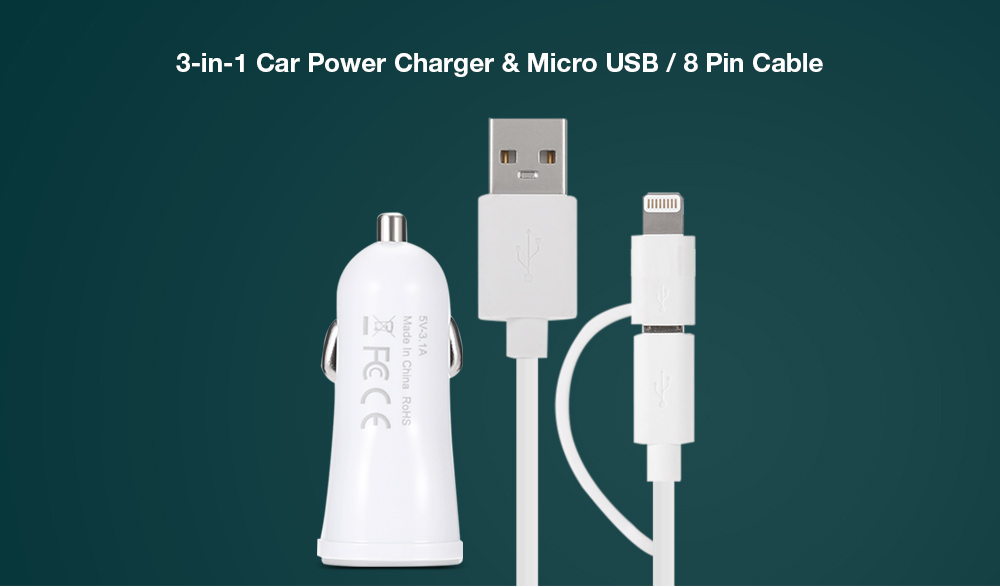 yellowknife Car Charger Micro USB Charge Sync Cable 8 Pin Adapter 2 in 1 Dual USB Output  Round Design Cable - 1m