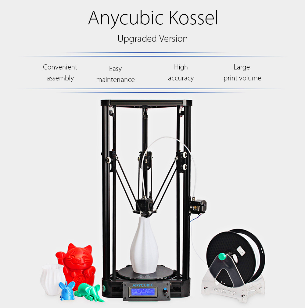 Anycubic Kossel Upgraded Pulley Version Unassembled 3D Printer