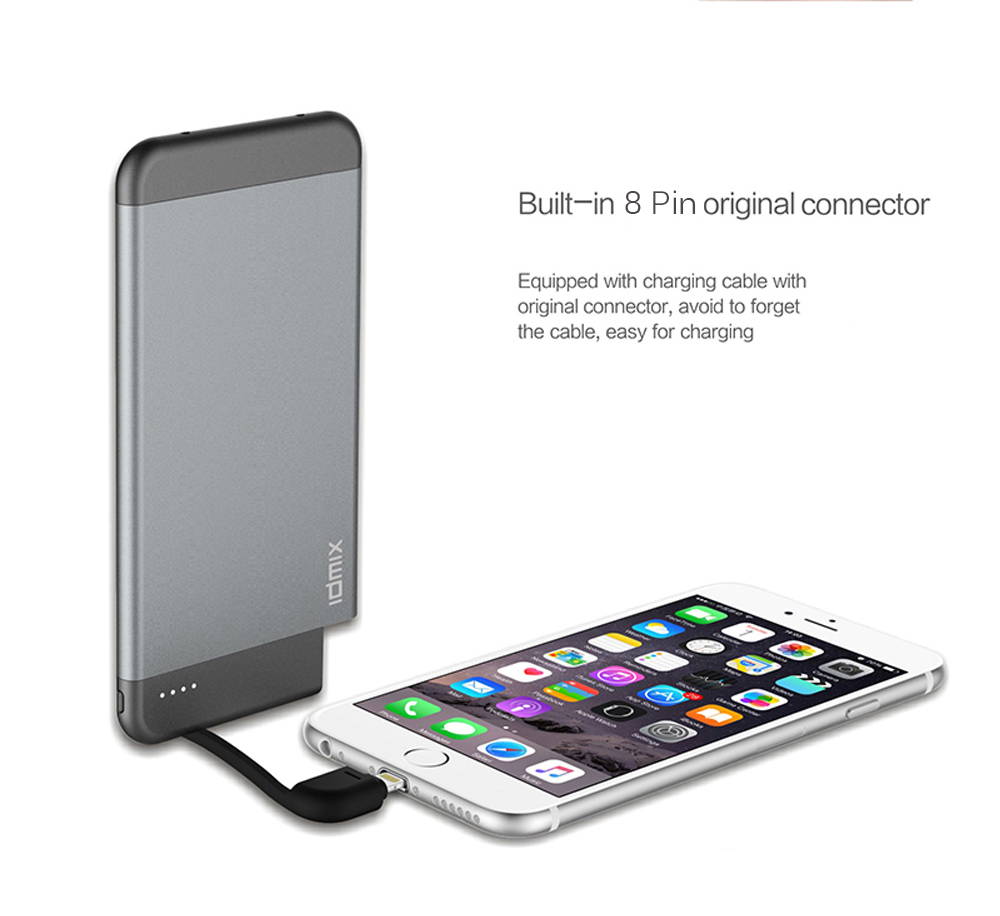 IDMIX i6 mate MFI Certification Ultra-thin 4100mAh Portable Power Bank Built-in 8 Pin USB Charging Cable