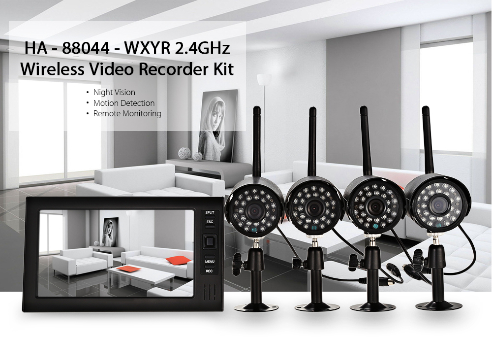 HA - 88044 - WXYR 2.4GHz Wireless Video Recorder Kit with Four 480P IP Camera
