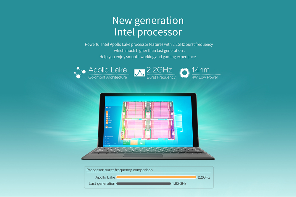 Teclast X3 Plus 2 in 1 Tablet PC 11.6 inch Windows 10 Intel Celeron N3450 Quad Core 1.1GHz 6GB RAM 64GB eMMC Bluetooth Dual Cameras