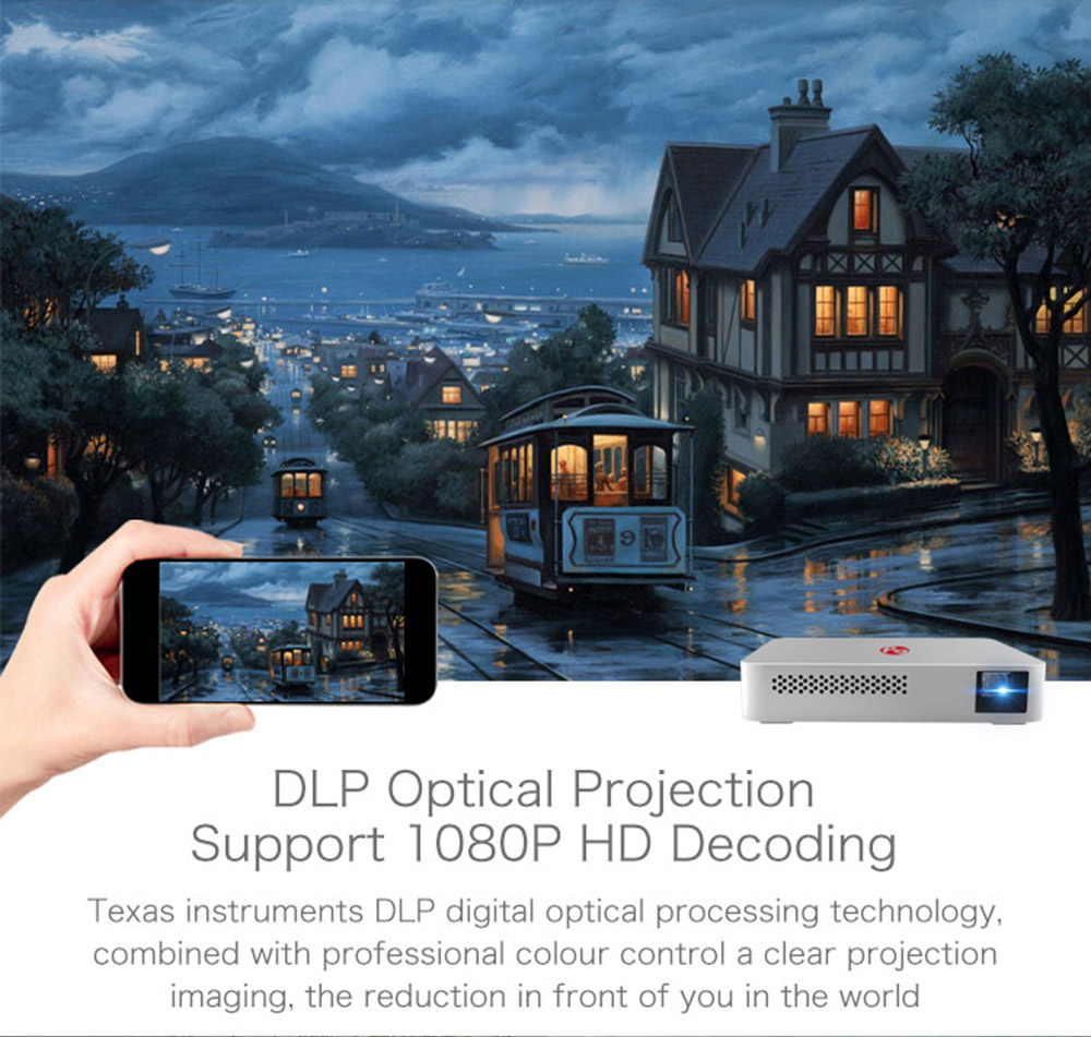 PaPa DLP Projector Visible 1500 Lumens 854 x 480 Pixels 5G WiFi Airplay HD Media Player