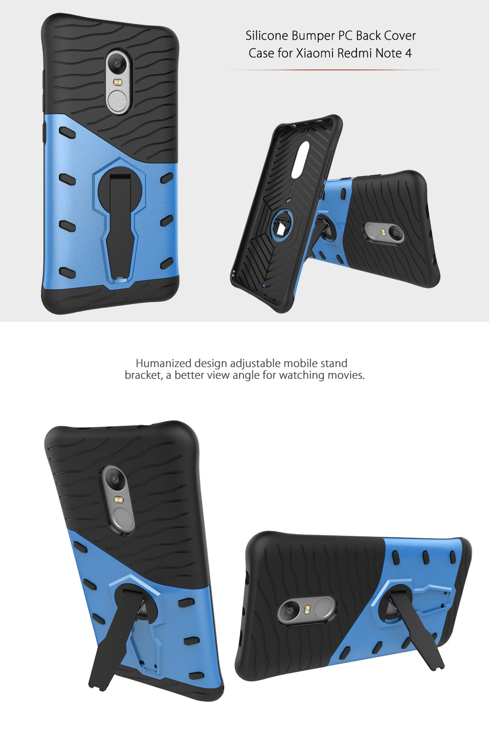 Silicone Bumper PC Protective Back Cover Case for Xiaomi Redmi Note 4 with Phone Stand Holder