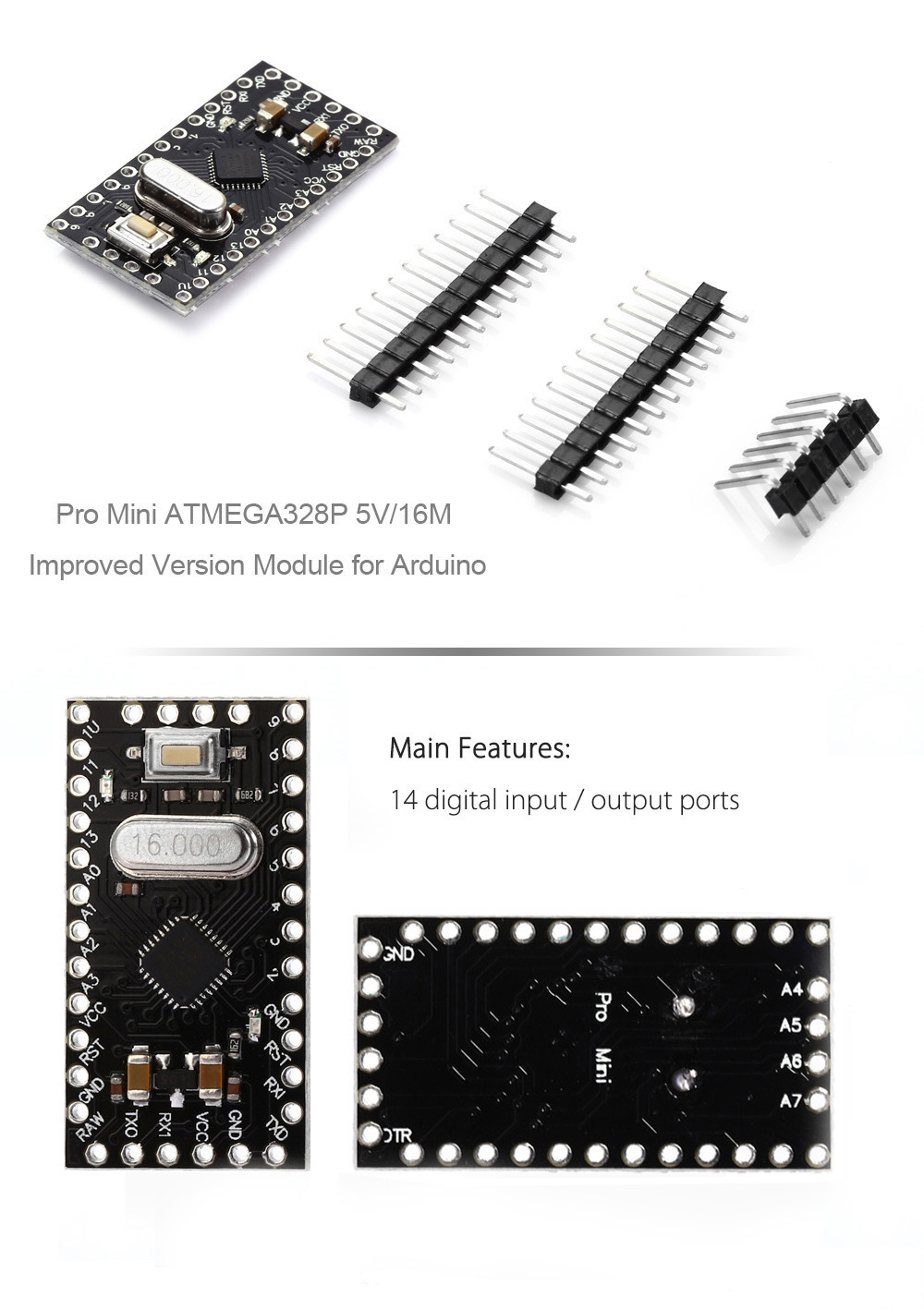 Pro Mini ATMEGA328P 5V 16M Improved Version Module for Arduino