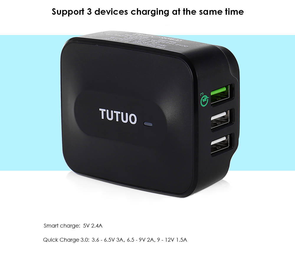 TUTUO QC - 028P Qualcomm Certified Quick Charge 3.0 Power Adapter Wall Charger Triple USB Ports