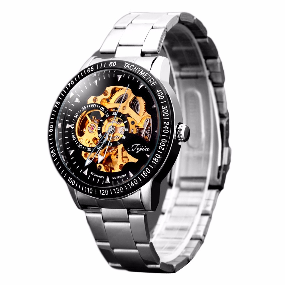 jijia 8010 men mechanical watch self winding hollow out round jijia 8010 hollow out automatic mechanical watch round dial stainless steel band for men